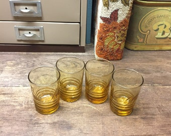 Vintage Juice glasses Amber Glass Set of 4