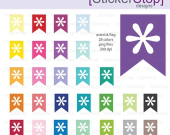 Asterisk Page Flag Clipart 28 colors, PNG Digital Clipart - Instant download - icons asterisk printable flags tab asterisk
