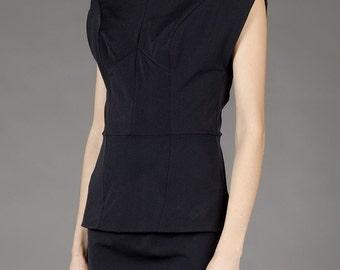 MARGIELA white label # black polo neck top #viscose/lycra mix # small-medium