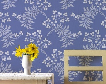 Allover Damask Stencil Pattern-Large Berry Romantic Wall Stencil for DIY Painted Decor