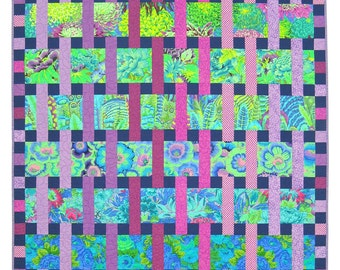 Interweave Quilt Pattern, Especially designed for Kaffe Fassett and Amy Butler prints  Baby, Throw, Twin and Queen sizes
