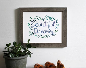 beautiful dreamer botanical wall art print - green leaves word art nursery decor watercolor 8x10 painting home decor modern art
