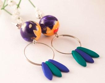 BOHO Hoop Earrings, Hoop Earrings, Hoop Blue Earrings, Hoop Studs, Flower Summer Earrings, Spanish Dangle Earrings, Gift for Woman, Gift