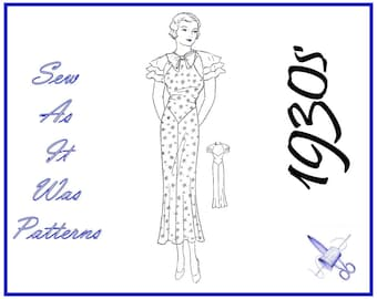 """1930s Rare NRA USA Vintage Sewing Pattern 2822 Shaped Bodice Triple Flounce Capped Sleeves Neck Bow Tie Flared Skirt Size 18 Bust 36"""" 92cm"""