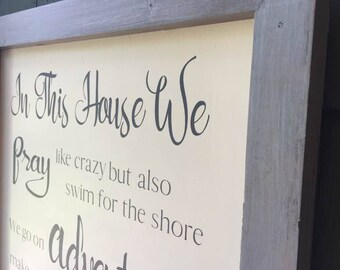 Family rules, In this house, Framed sign, Family motto, In this house sign, Farmhouse decor, Christian wall art, custom signs, house warming