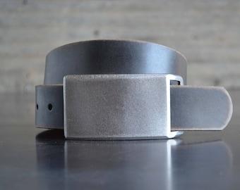 Brushed FOUNDATION SET Belt Buckle & Leather Belt by Fosterweld