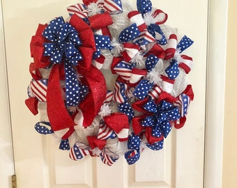 Patriotic Wreath -  Glittery Red White and Blue Front Door Decor - 4th of July - Independence Day