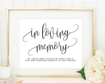 """Printable """"In Loving Memory"""" Sign with Editable Text Area - in 8x10 and 5x7 inches - Lovely Calligraphy #LCC"""