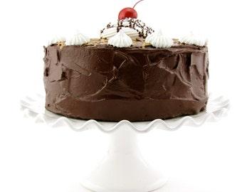"Fake Cake ""Retro Cookbook Cake Collection"" Yummy Chocolate Fudge Caramel Cake Fab Photo Prop, Cake Plate Display 12 Legs Original"
