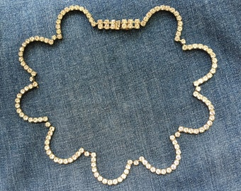 Vintage Scalloped Rhinestone Necklace