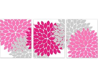 Home Decor CANVAS Art, Pink and Grey Flower Burst Art, Grey and Pink Bathroom Wall Decor, Pink Bedroom Decor, Nursery Wall Art - HOME136