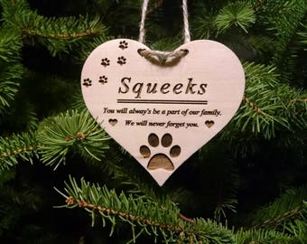 Pet Remembrance Heart Christmas Ornament - Personalized with Gift Box