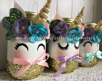 Mystical bashful and giggling unicorn mason jars, birthday party decor, baby shower decorations, room decor, desk decor