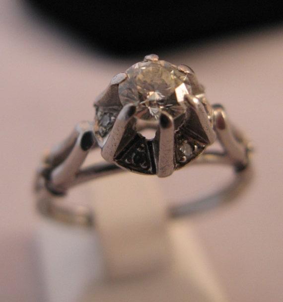Vintage Handmade Solid Platinum ~0.35 carat Round Cut Diamond Engagement Ring SI2 clarity, Diamond Ring - Anniversary -Wedding - Layaway