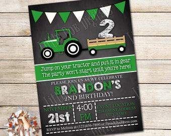 Personalized Tractor Birthday Party Invitation - Digital File or Printed Copies - Printable - Invitation - Invite 5x7 or 4x6 - Green White
