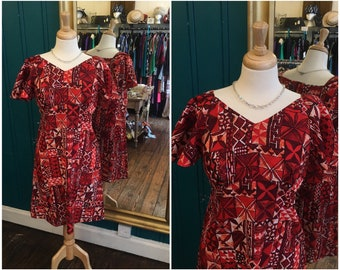 "B36"" 1970s Red Hawaiian Dress Small UK10"