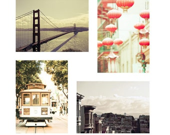 SALE, San Francisco Art, Travel Gift, Pastel, Peach, Mint Green, Travel Photography, Set of 4 Prints