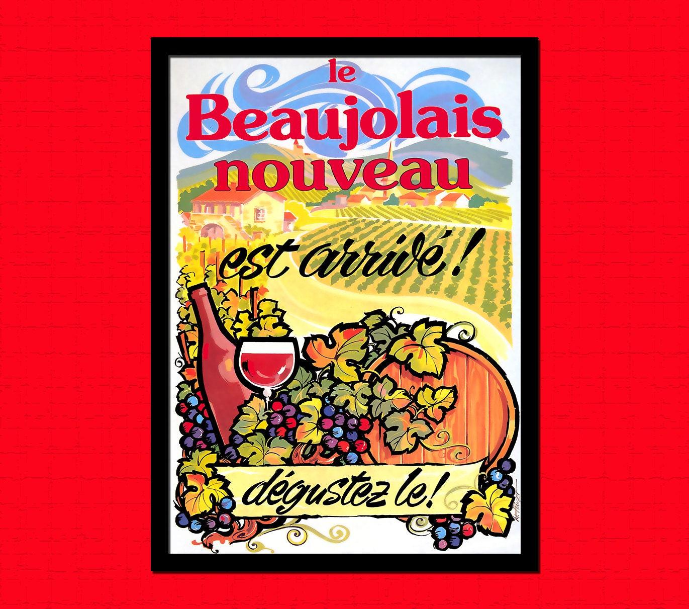 Wein-Poster der neue Beaujolais Nouveau Wein Dekor Wein