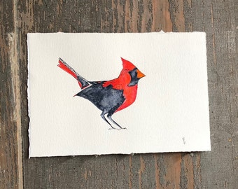 Original Watercolor Bird Painting Northern Cardinal : NOT A PRINT