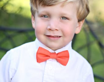 Bow tie for boys, coral bow tie, chartreuse green bow tie, wedding bow tie, ring bearer bow tie, bow tie for toddler, boys photo prop