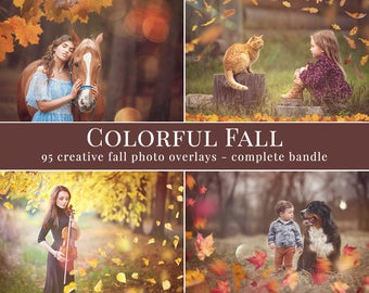 Colorful Fall photo overlays, complete bundle, haze, lights, bokeh & leaves photo overlays, creative photo overlays for Photographers