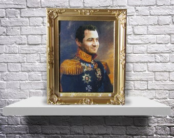 CUSTOM regal royal military portrait old fashioned painting Print or Poster from YOUR photo - Choose size, and Subject