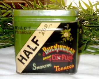 Vintage Tobacco Tin, Half &Half Buckingham Tobacco Container, Collectible Tin, Tobacciana Item,