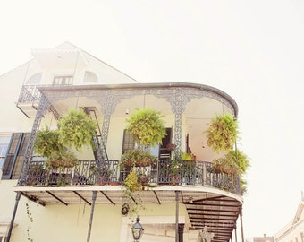 new orleans art, french quarter balcony, yellow home decor, architecture art , new orleans photography