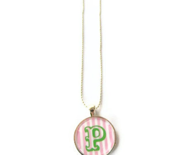 Monogram Necklace, Monogrammed gifts, Pink Green Preppy Monogram necklace, Back to school sale