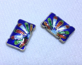 2pc 19x12.5 Rectangle handmade double holes Cloisonne Beads-OFF54