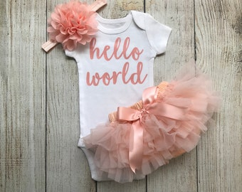 Baby Girl Coming Home Outfit - Hello World Outfit in Peach - Hello World - Tutu Bloomers - Newborn Photos