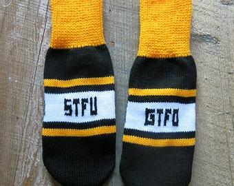 STFU GTFO Knit Mittens