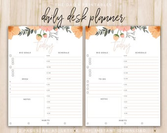Daily Desk Planner Printable - To Do List Desk Organizer   Planner Page Refills Printable   A4, A5, and US Letter