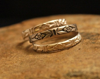 Stacking Ring Flower Pattern Sterling Silver (3 Rings), Silver Jewelry, Flower Jewelry, Garden Ring, Flower Band, Gift for Her