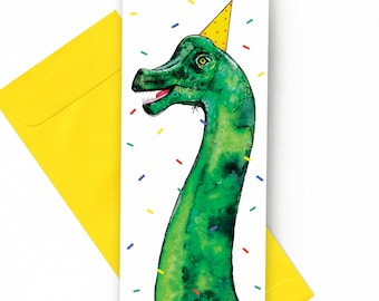 Birthday Card with a dinosaur // Illustration of a Brachiosaurus with a birthday hat, Confettis, Large format card, Birthday card, Congrats
