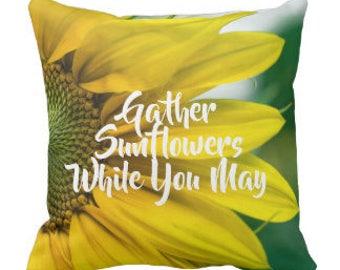 Throw Pillow Gather Sunflowers