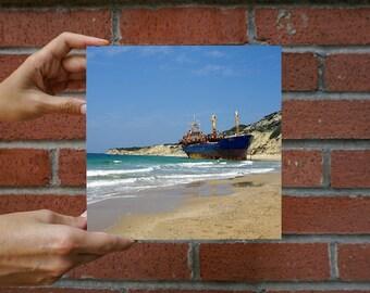 Ship Wreck, Photo on 19x19 cm MDF (Medium-density fibreboard), Wall Art, Home Decor, Limited Edition Photography Prints