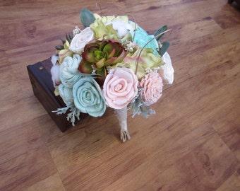 Wedding Bouquet, Sola bouquet, Succulent Bouquet, Woodland Dried Bouquet, Bridal Bouquet, Sola flowers, Alternative Bouquet, Rustic Handmade