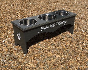 3 Bowl Dog Feeder, 3 Bowl Raised Dog Feeder, Raised Dog Bowl, Personalized Dog Feeder, Three Bowl Raised Dog Feeder, Elevated Dog Bowl