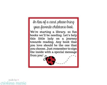 INSTANT DOWNLOAD, ladybug baby shower, bring a book, printable, printing available