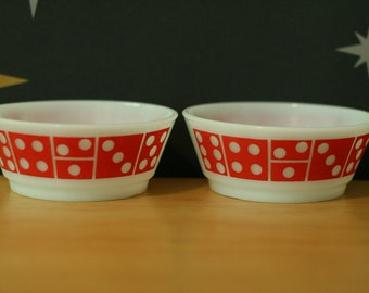 Two Fire-King Anchor Hocking Bowls / Red Domino / Milk Glass / Cereal / Salad / Set / Vintage