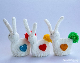 Easter bunny for keeping warm breakfast egg PDF knitting pattern. Easter pattern. Cozy home. Home decoration. Easter ornaments.