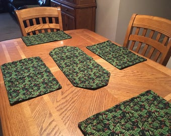Handmade Reversible Table Runner and Placemat Set