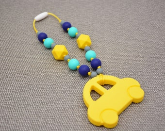 Silicone Teething Toy / Yellow Car / Baby carrier Accessory / Stroller / Car Seat/ Tula/ Ergo/ Kinderpack/ Beco/ Boba