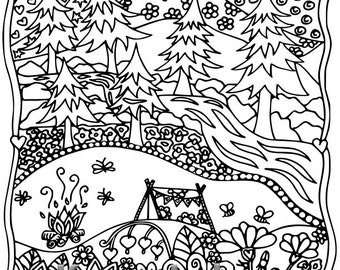 Happyville Camping, 1 Adult Coloring Book Page, Printable Instant Download