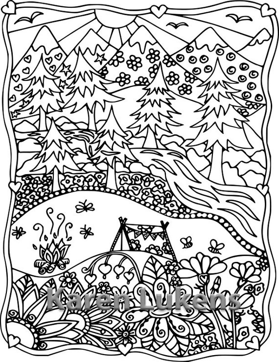 Happyville Camping 1 Adult Coloring Book Page Printable