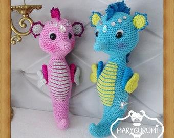 Seahorse, crochet, Amigurumi plush