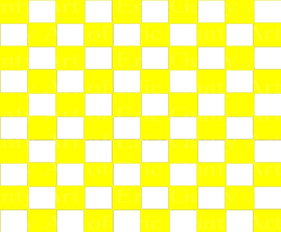 Yellow Checkerboard Birthday - Edible Cake and Cupcake Topper For Birthday's and Parties! - D24057