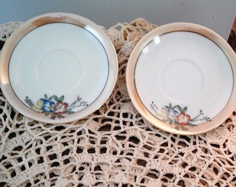 Pair of Painted, Glazed Tea Cup Saucers-Made In Occupied Japan