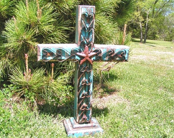 LARGE Wood and Iron Standing Cross Rustic Custom made USA 0355